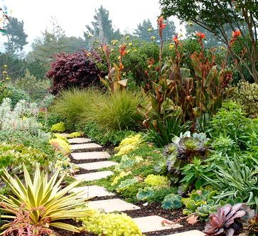 This is gardening on a larger scale that takes planning and maintenance, certainly, but proper plant selection can make for a joyful and more sustainable lawn substitute. Walkways or paths of stepping stones, as shown in this photo, can help organize these larger spaces and invite exploration, too.