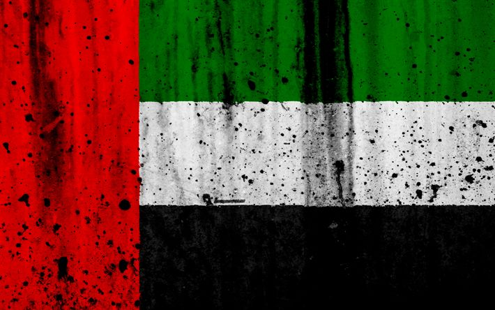 Download wallpapers UAE flag, 4k, grunge, flag of UAE, Asia, UAE, national symbols, UAE national flag, United Arab Emirates