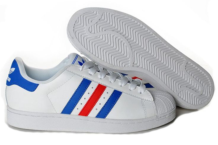 Buying Adidas Superstar 2 G50974 Leather Blue Red White Trainers Shoes UK Online http://www.hotsportuka.com