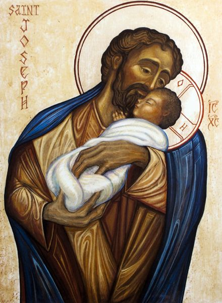 """Those who fear you rejoice to see me, because I hope in your word."" Psalm 119:74 // Saint Joseph and Jesus Christ, Son of God / San José y Jesucristo, Hijo de Dios // 2010 // By Fredrick del Guidice // © Oblates of St. Joseph"