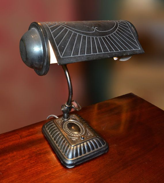 Sold Laa Bankers Period Metal Desk Lamp Deco Vintage Office Study Library Home Original Condition Untouched Patina