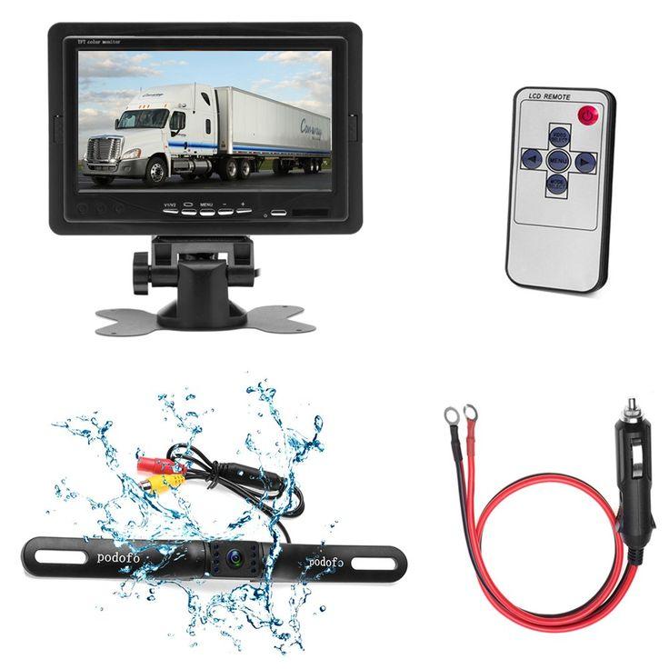 Podofo Car Vehicle Backup Camera 7'' TFT Color LCD Rearview Security Monitor + Waterproof 7 IR Night Vision License Plated Car Camera for Truck/Van/Caravan/Trailers/Camper