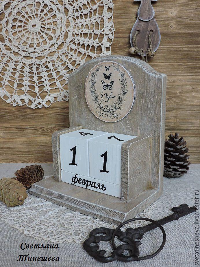 Купить Настенный вечный календарь. - серый, календарь ручной работы, календарь декупаж, настенный календарь