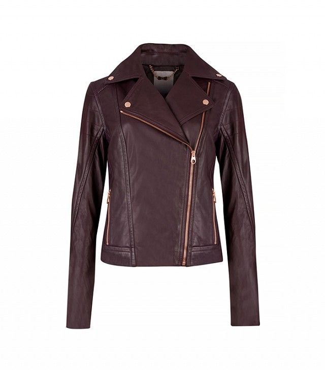 The 5 Best Leather Jackets for Every Price Point via @WhoWhatWear   Ted Baker Riza Leather Biker Jacket ($675) in Grape