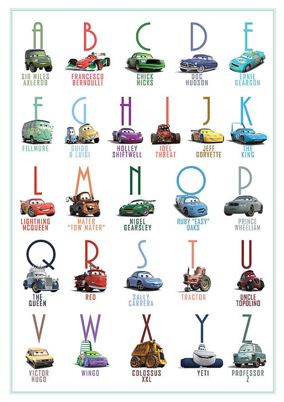 Printable Alphabet Lightning McQueen Cars Abc by LauraWrightStudio