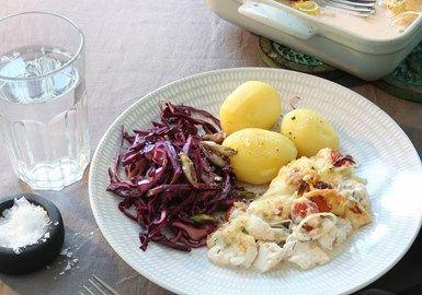 Fiskgratäng med dill och citron