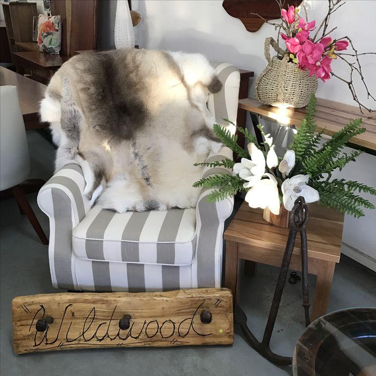 Casual striped chair;  X-large genuine reindeer hide;  railway spike coat rack