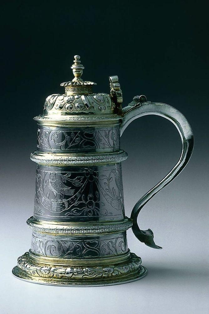 Tankard. English (London). IP, about 1590–1600, hallmarked 1618–19. Silver, parcel gilt