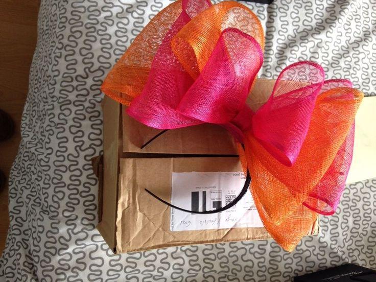 Fasinator pink orange Races Wedding Bow headpiece headband new cond
