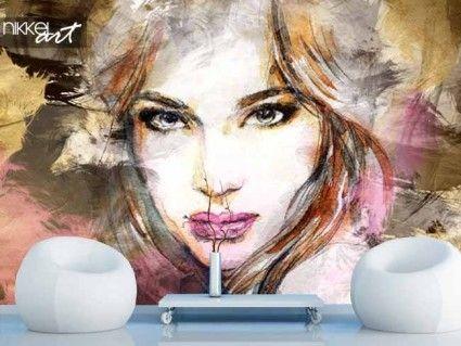 Fotobehang Mooie vrouw gezicht. Aquarel illustratie