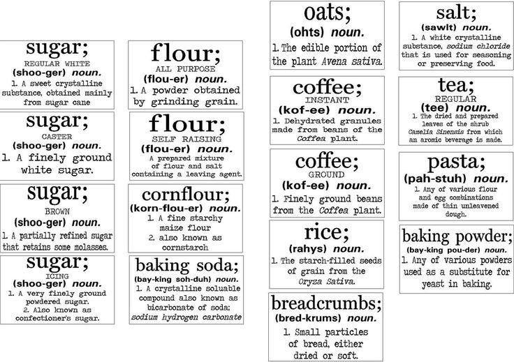 Basics Definition Flour Sugar Oats Rice Pasta Tea Coffee
