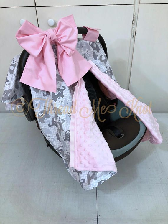 Gray And White Elephant Car Seat Canopy With Pink Minky Elephant Nursery Girl Baby Girl Elephant Pink Elephant Nursery