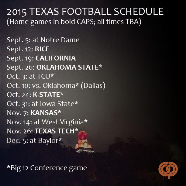Texas Longhorns 2015 football schedule