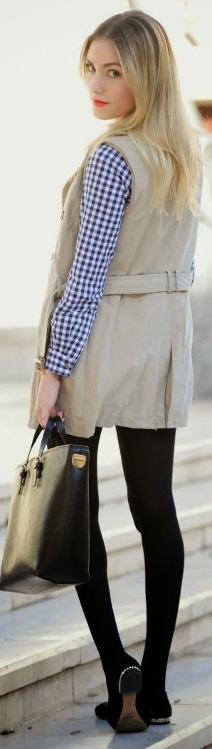 Trench Coat And Flats ,Leather cool handbag