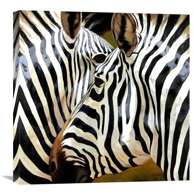 "Global Gallery 'Zebra Close-Up' by Arcobaleno Painting Print on Wrapped Canvas Size: 24"" H x 24"" W x 1.5"" D"