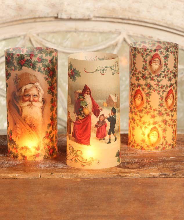 Vintage Santa Luminaries from The Holiday Barn