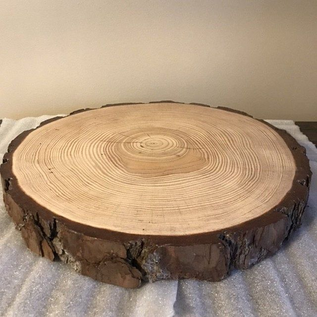 Set Of 12 10 Inch Tree Slices For Centerpieces Tree Slices For Tables Wood Discs Wood Slice Centerpieces Wedding Table Decor In 2020 Rustic Cake Stands Wood Slices Wedding Wood Slices