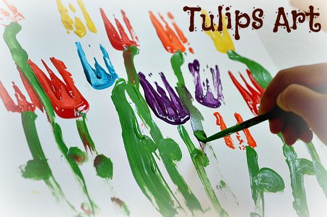 Spring Art :Tulip Painting   Posted by TurkeyMom To bring the season indoors we did this fun spring art activity which is great for both toddlers and preschoolers.  using a 3 prong fork, paint and brushes...