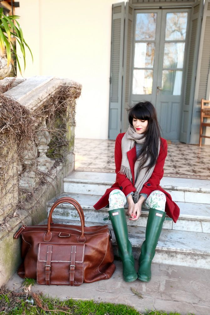 red coat and green hunter boots
