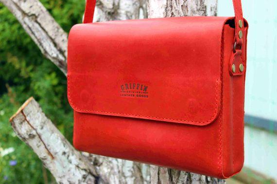 Red messenger bag leather courier bag custom messenger bag