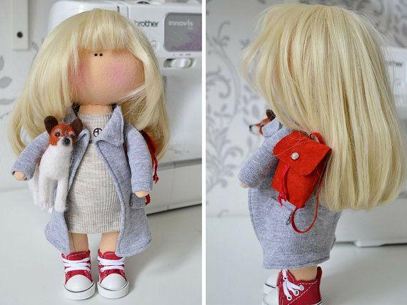 Interior doll Handmade doll Tilda doll Art doll blonde grey color soft doll Cloth doll Fabric doll Love doll by Master Tanya Evteeva