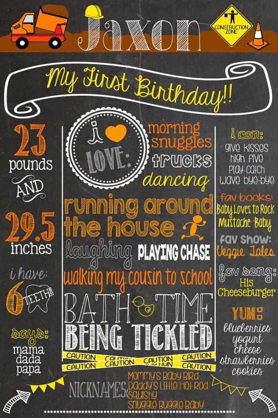 Custom Construction Theme Birthday Chalkboard Poster Printable Construction First Birthday