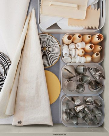 Cake- and Cookie-Decorating Supplies    Pastry bags, biscuit cutters, icing tips, and frosting combs: Everything is easily accessible in clear boxes. PP Make Boxes, muji.us.