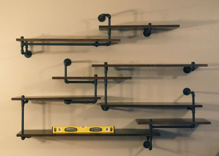 Industrial Pipe Shelving Built-In
