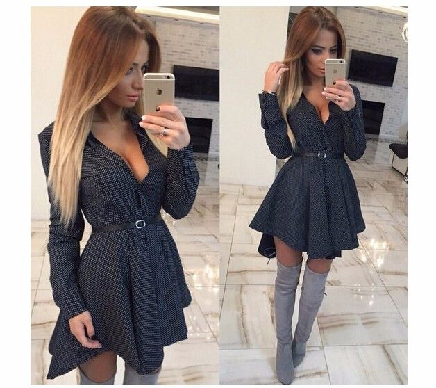 2016 New autumn fashion Women Shirt Dress Small dots Printed Fashion Irregular Long Sleeve Mini Vestidos dresses-in Dresses from Women's Clothing & Accessories on Aliexpress.com | Alibaba Group