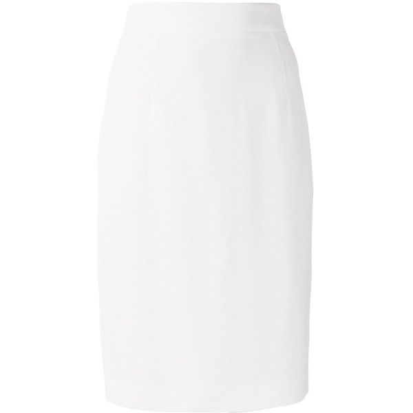 Dsquared2 high-waisted pencil skirt ($595) ❤ liked on Polyvore featuring skirts, white, high-waist skirt, white mid length skirt, knee length pencil skirt, white high waisted skirt and high waisted knee length skirt