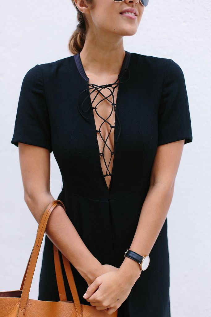 Diy, tøj, mode, kjole, top, detalje, lace up.