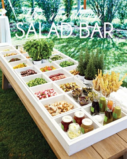 "Hosting a party?  Here's a fun take on a healthy ""do-it-yourself"" modern salad bar.  Fresh, colorful ingredients arranged beautifully in wood boxes (or you could use low, glass vases for a similar look) makes for a lovely presentation that is sure to wow your guests."