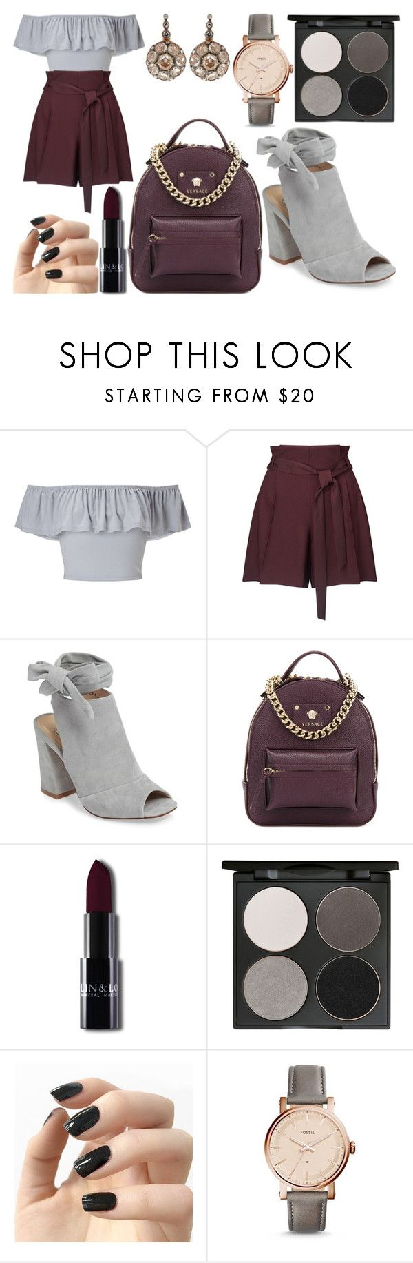 """""""sample size"""" by citrusapple-1 ❤ liked on Polyvore featuring Miss Selfridge, Kristin Cavallari, Versace, Gorgeous Cosmetics, Incoco, FOSSIL and Selim Mouzannar"""