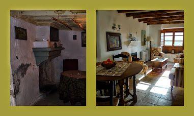 Antes y Después de Casa Tagomago #2 Antes antiguo salón con chimenea, completo con barras para colgar los embutidos, un ventanuco chiquito y un WC y ducha rudimentaria al fondo detrás de una cortina...Después confortable salón comedor, con estufa de leña (colocada dentro de la misma pared de la casa, son tan anchas!)La ventana del fondo tiene vistas sobre el embalse y el Valle, a la derecha hay ventanales grandes que dan al patio y la piscinita.  Mas detalles en futuras entradas en esta…