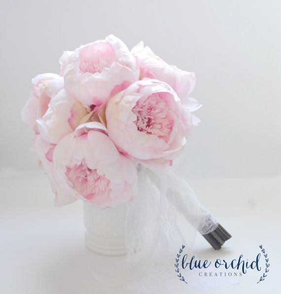 Blush Peony Bouquet  Large Blush Peony by blueorchidcreations