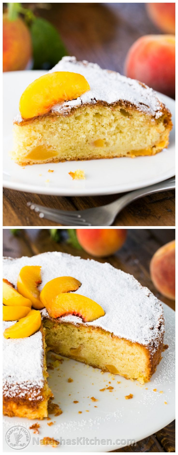 A quick summer peach cake that uses a pound of juicy peaches. This one is a keeper! It's moist and just right. @natashaskitchen