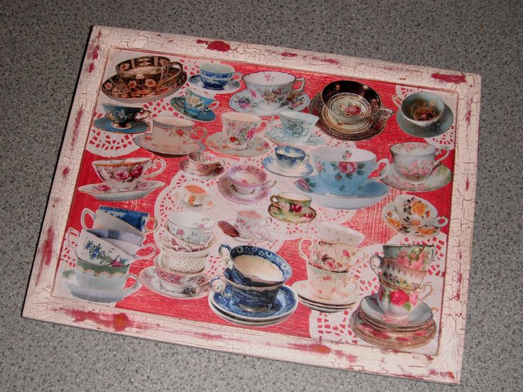 Decoupage teacups tray