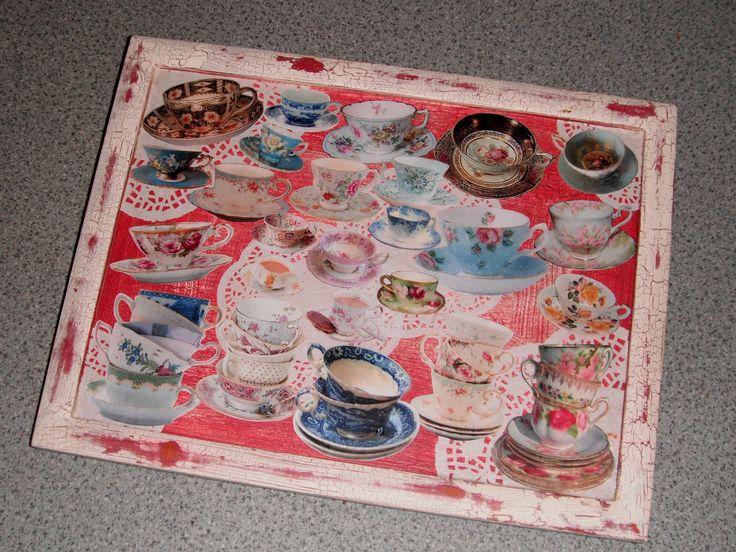 Decoupage teacups tray