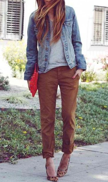 Chinos with grey tee and denim jacket, bright clutch and leopard heels