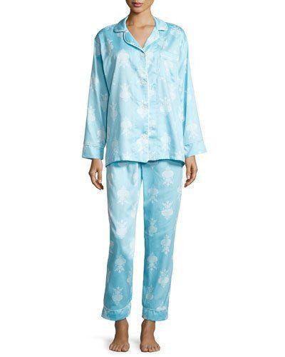 I0SMQ Bedhead Chandelier-Print Pajama Set, Blue, Plus Size