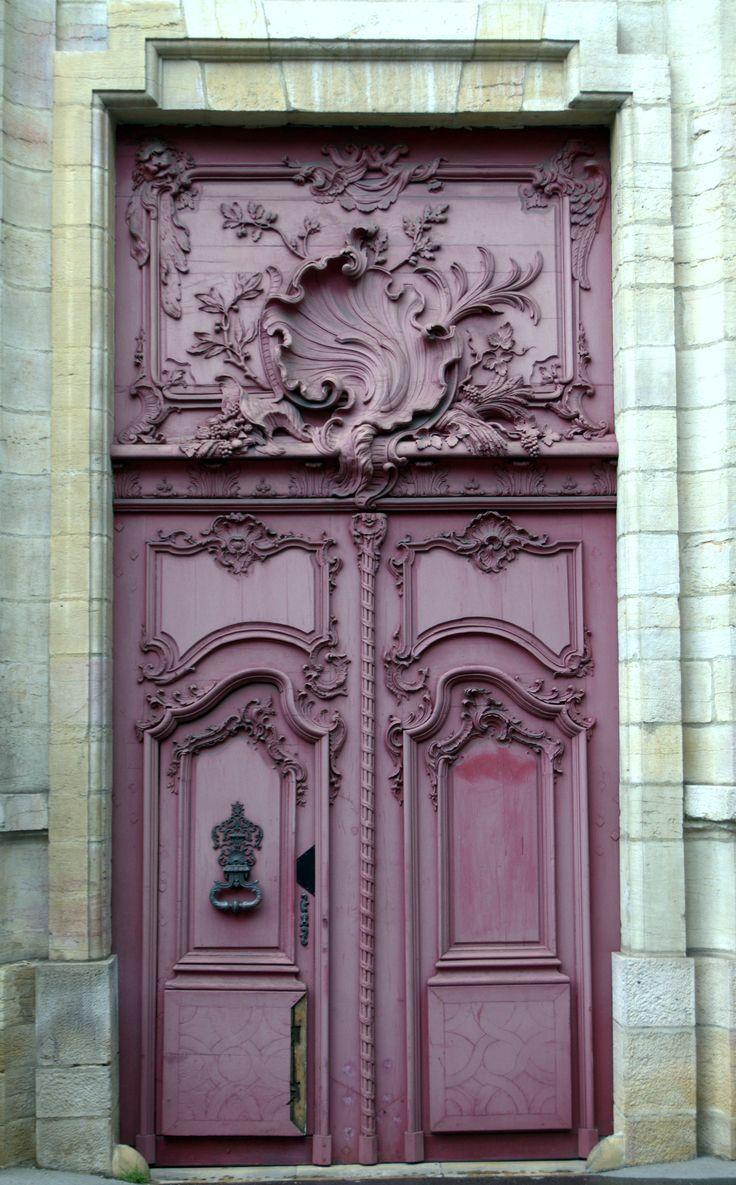 French front door in plum aubergine