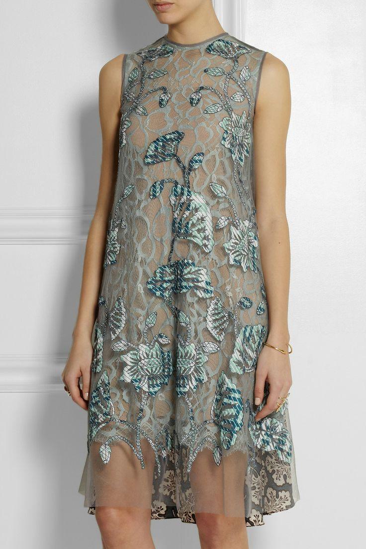 Biyan|Agatha appliquéd tulle and silk-blend twill dress |NET-A-PORTER.COM