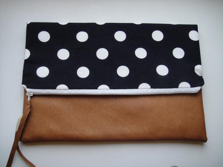 Polka dot fold-over zippered clutch. $22.00, via Etsy.