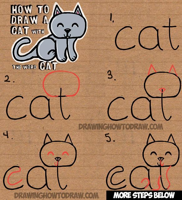 How to draw a cat from the word cat easy drawing tutorial for kids drawing lessons drawings and child