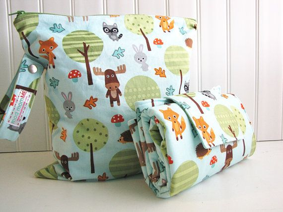Diaper Changing Pad and Wet Bag  Nappy Change Mat and by modmomME, $42.00