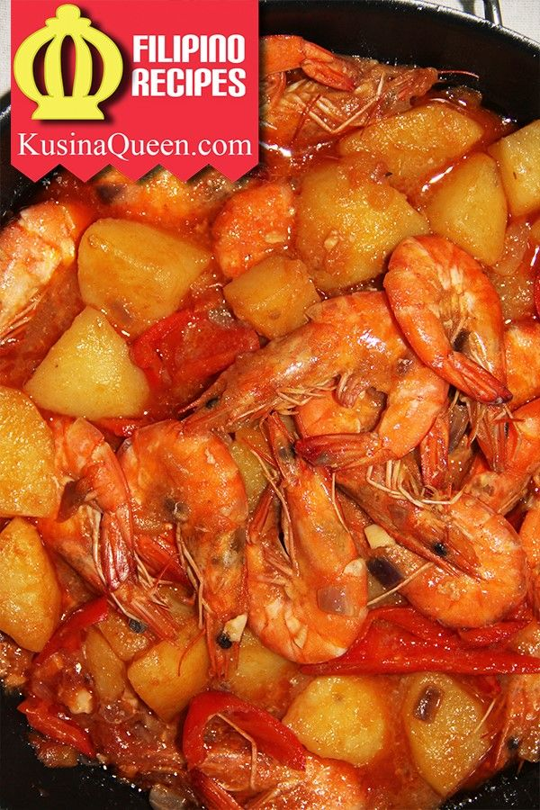 Filipino Food Shrimp Afritada Or Shrimp In Rich Tomato Sauce Is Delicious And Easy To Cook