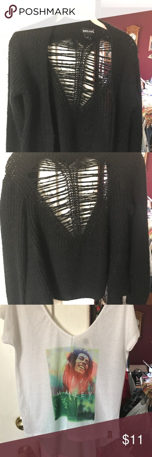 Wet seal sweater, bob Marley nwot top Black wetseal sz med (goes to waist) has heart detail on back... Nwot Bob Marley white an green top sz med . Gorgeous (sadly I'm too tall for it to fit shoes my tummy and I hate that haha) bundle or and make offers!! wetseal etc Sweaters