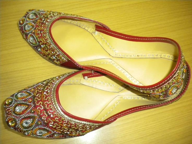 Women beaded shoes Indian Punjabi juti  flat by handicraft2011,