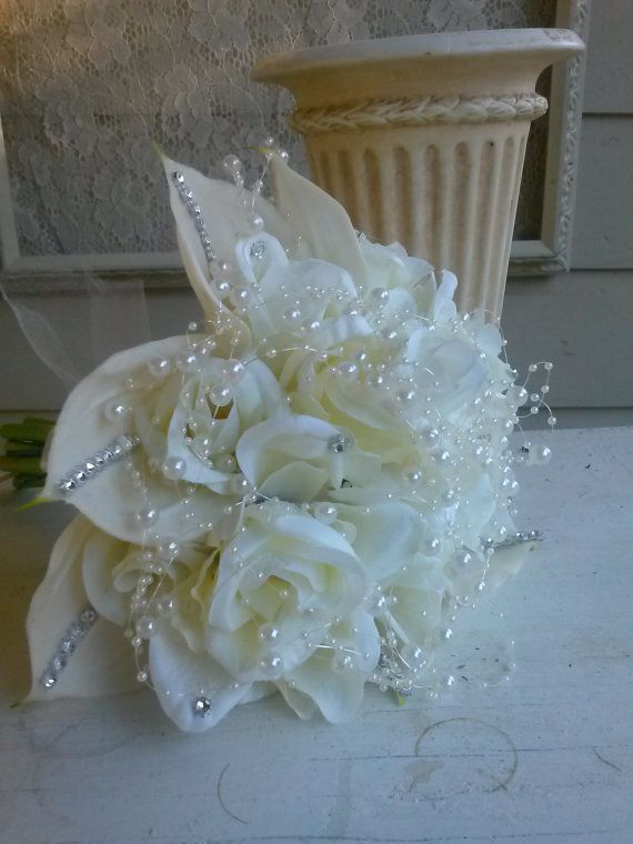 calla lily bouquet rose bouquet wedding bouquet by SageSensations, $55.00