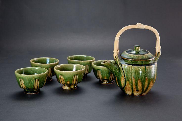 織部刻文茶器揃(一揃)Japanese Tea-things with engraved, Oribe type 2012